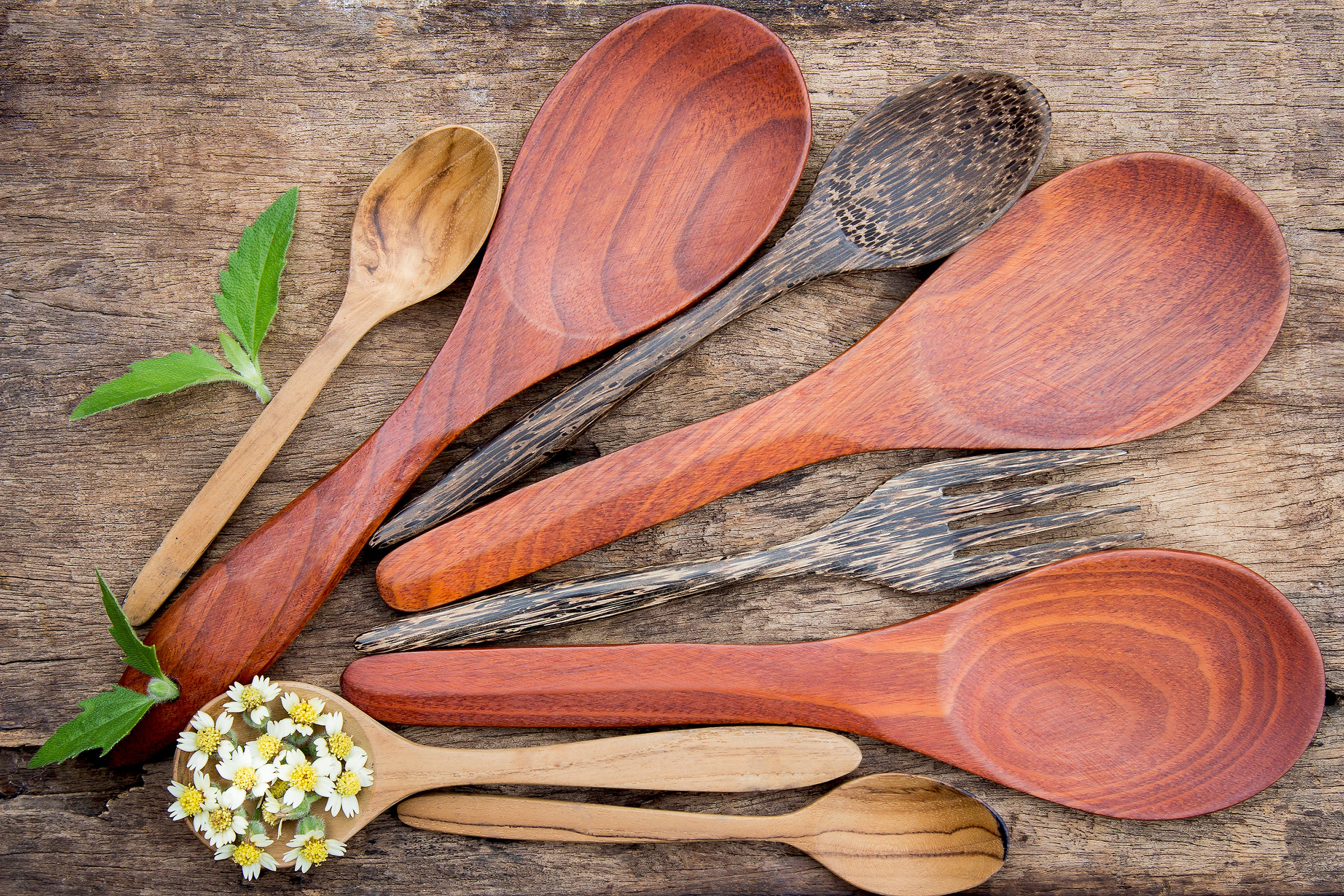 Free stock photo of wood, art, spoon, flowers
