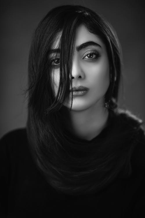 Grayscale Photography of Woman Wearing Black Shirt