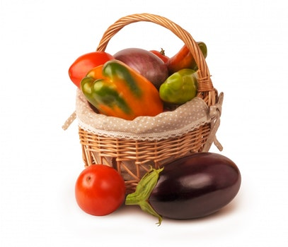 Free stock photo of food, vegetables, basket, pepper