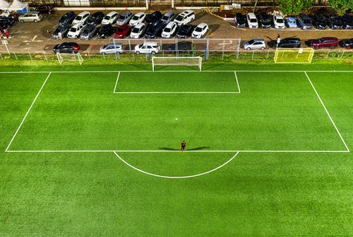 Aerial Photography of Football Field Goal Net