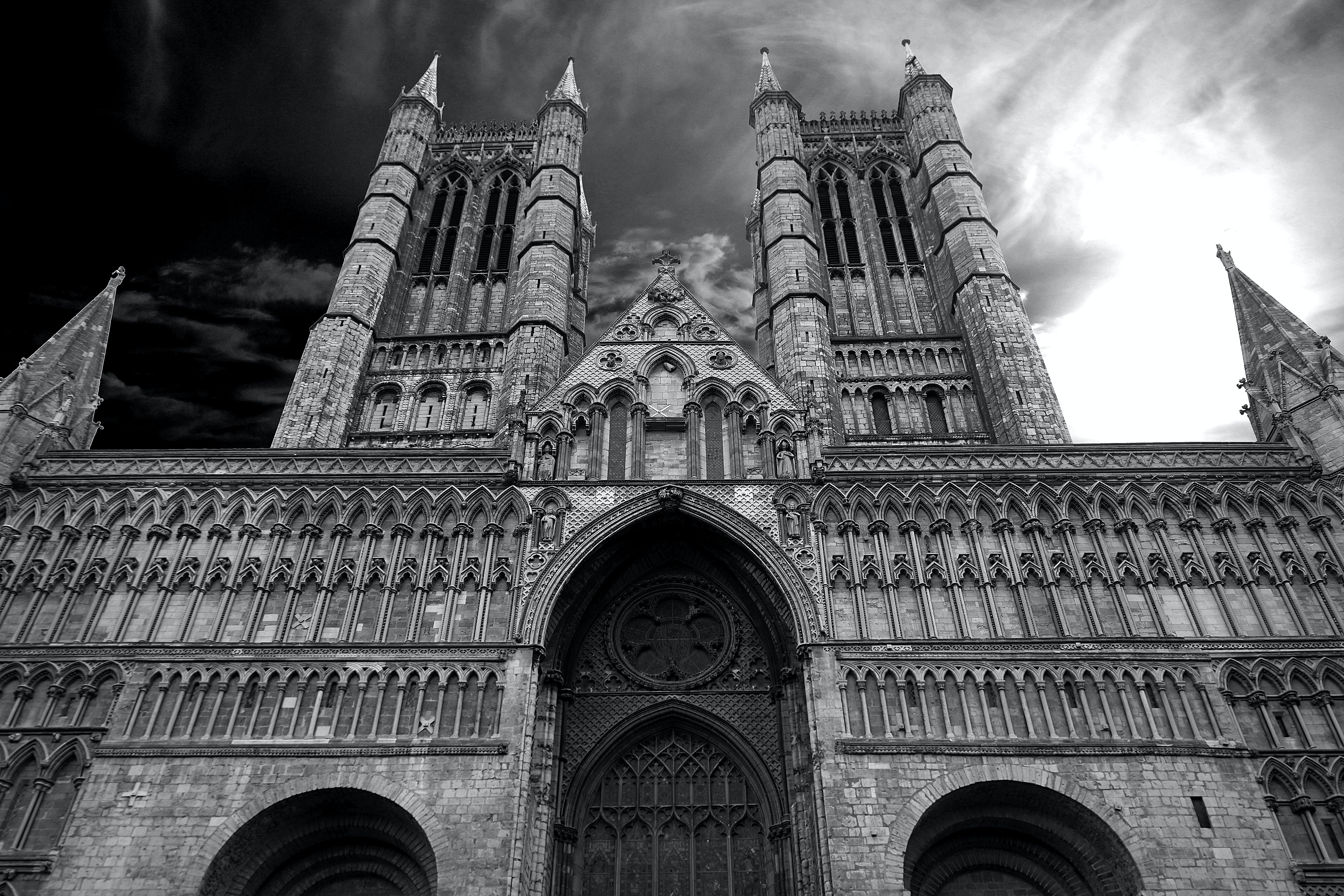 Grayscale Low Angle View of Cathedral