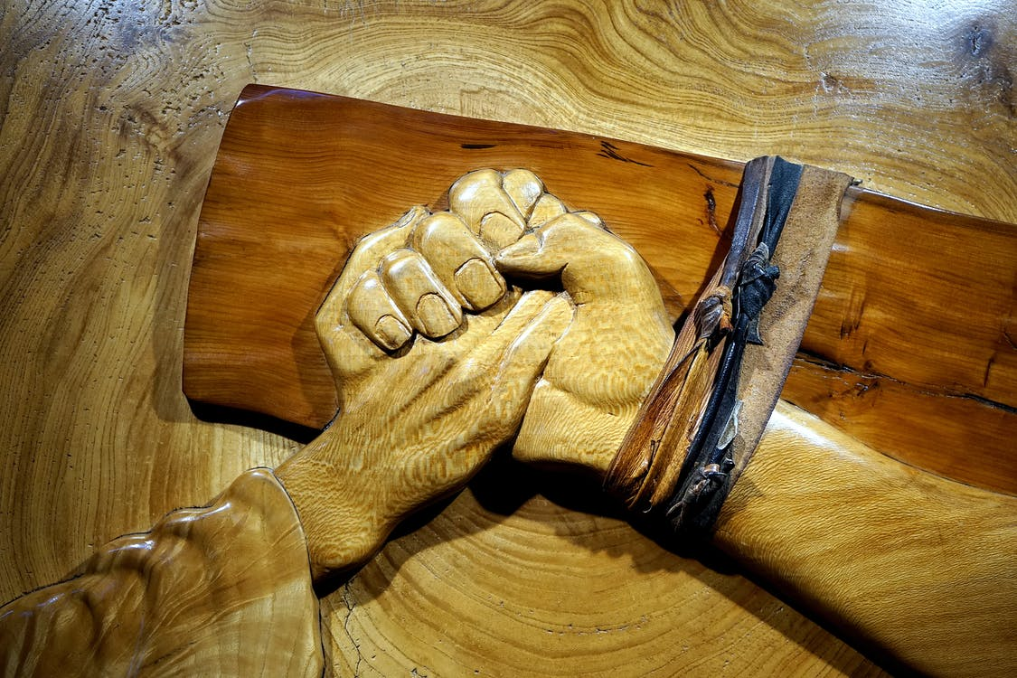 Brown Wooden Hand Emboss Decor