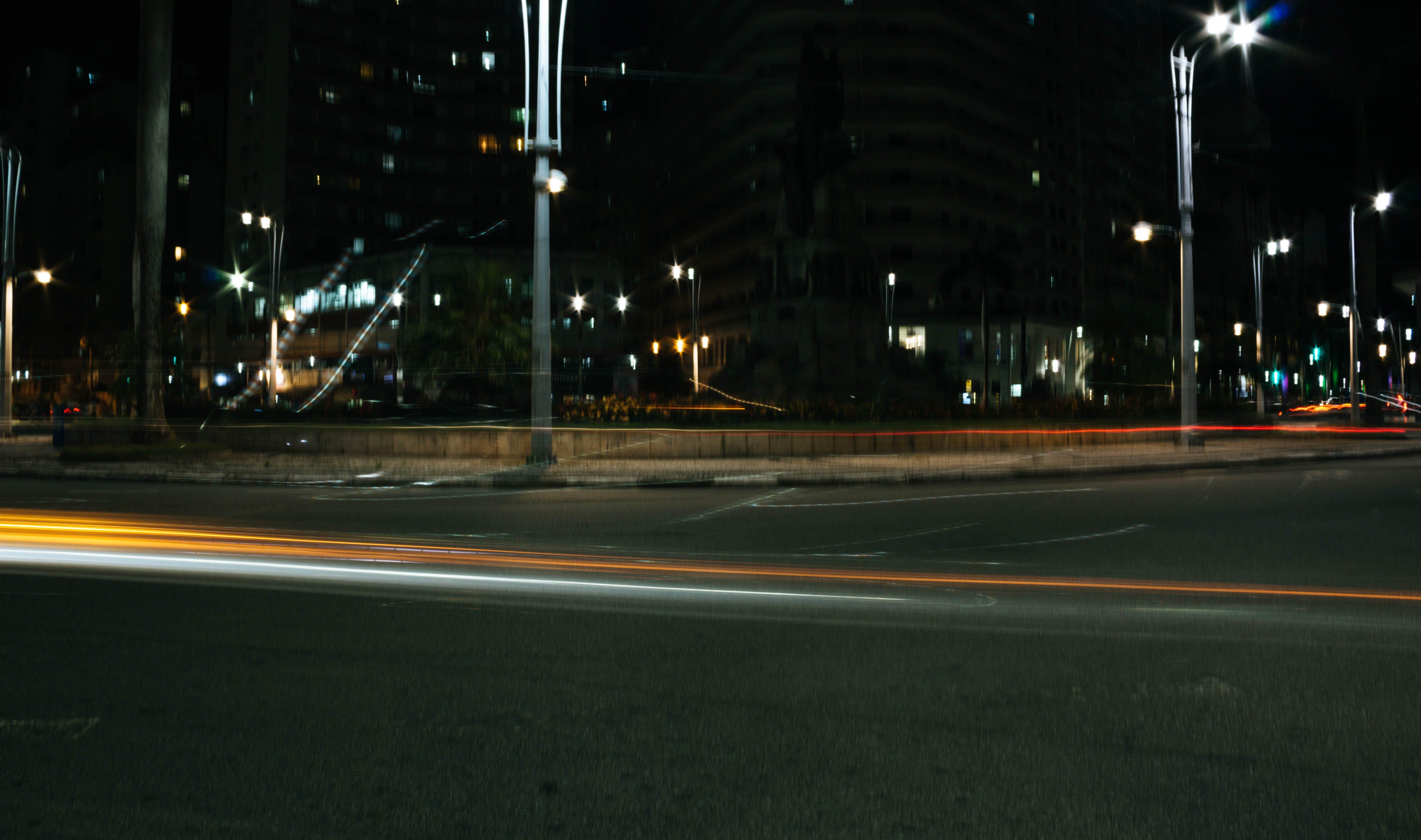 Free stock photo of street, car, car lights, long exposure