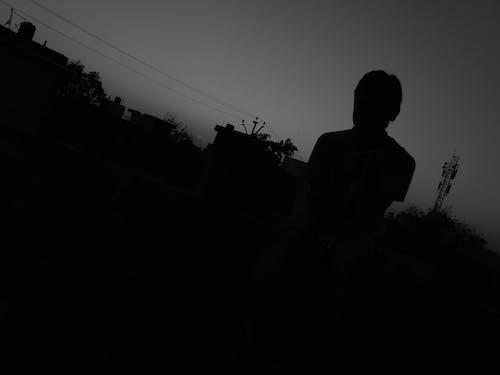 Free stock photo of black, black and white, boy, dark