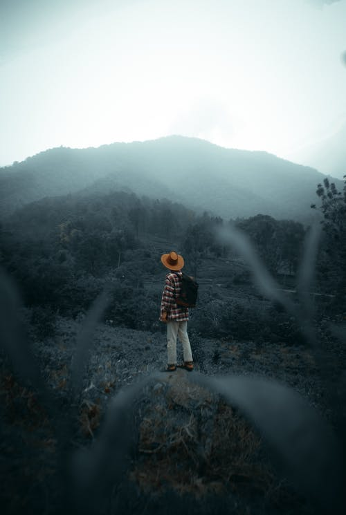 Unrecognizable traveler admiring mountain valley