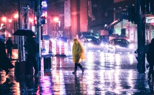 Free stock photo of city street, raincoat, raining night
