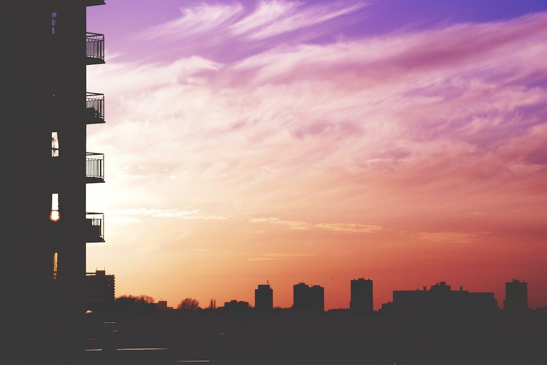 architektura, budynki, chmury