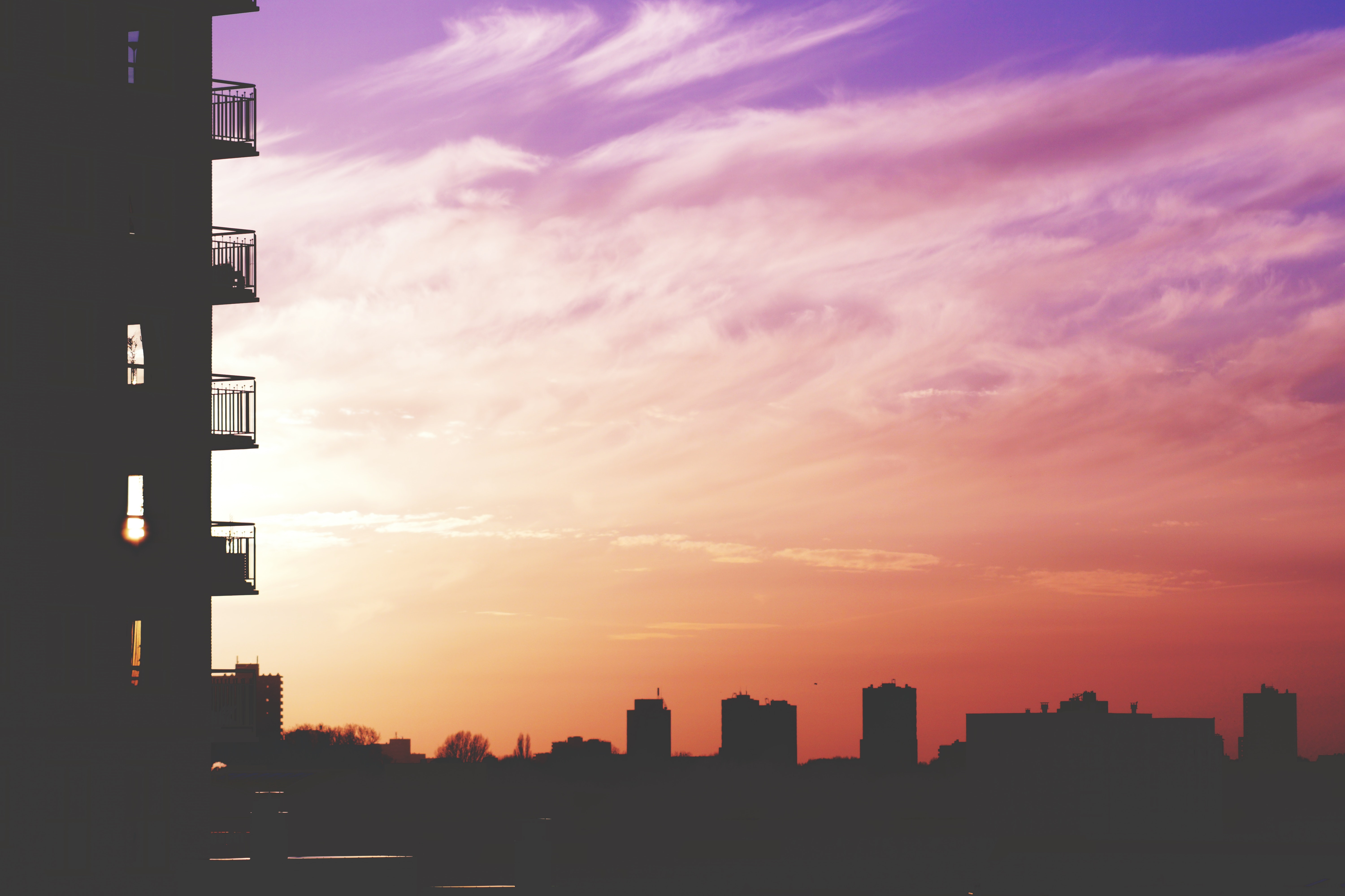Silhouette Photo Of City Building During Sunset 183 Free
