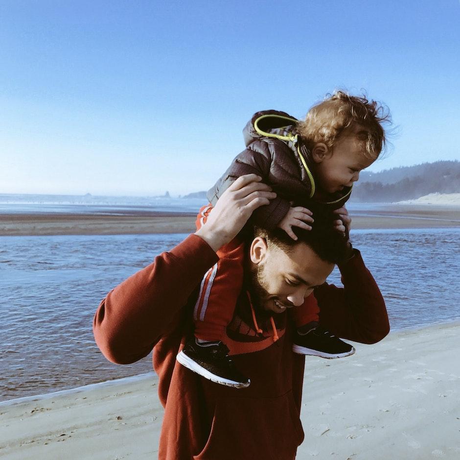 beach, child, family
