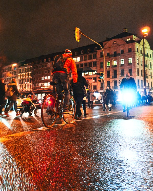 Free stock photo of bike, blue, city night