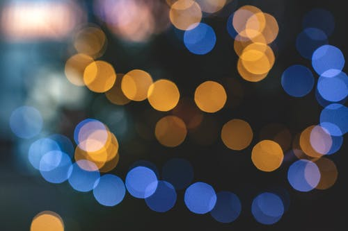 Blue and Yellow Bokeh Lights