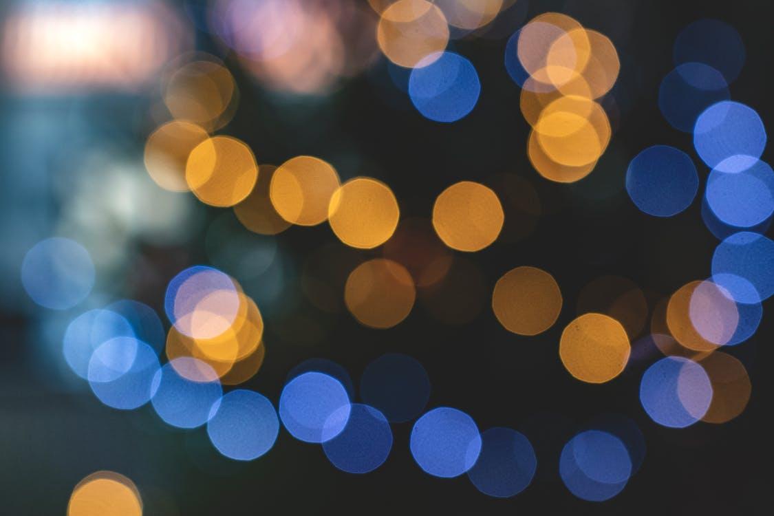 Blue and Yellow Bokeh Lights