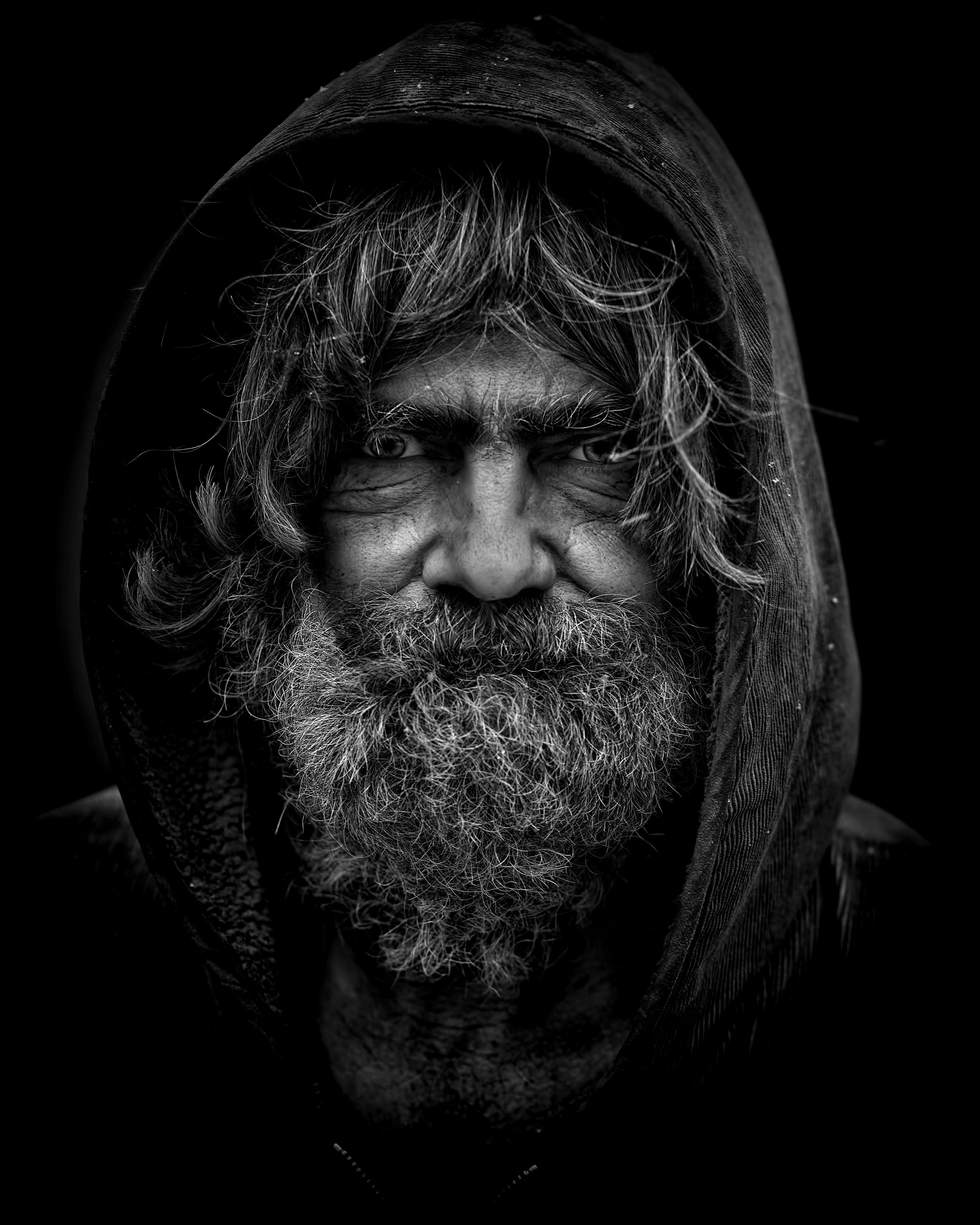Bearded Man Grey Scale Illustration