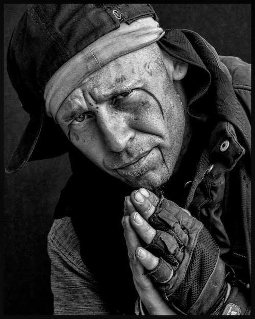 Kostenloses Stock Foto zu mann, person, porträt, schwarz und weiß