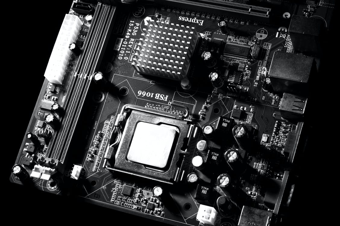 Grayscale Photo of Motherboard