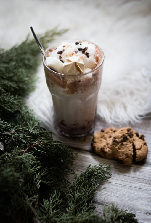 Ice Cream On Glass With Cookies on Top