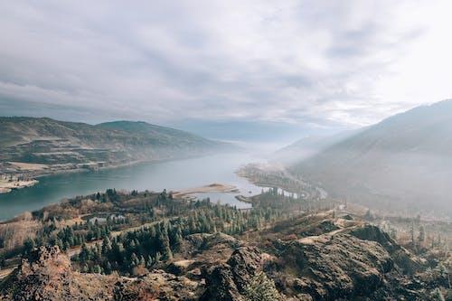 オレゴン, ハイアングルショット, ミスト, もやの無料の写真素材