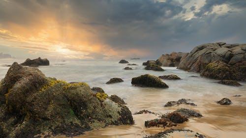 Foto profissional grátis de água, areia, beira-mar, cair da noite