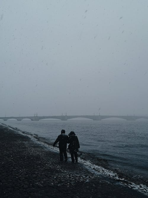 Photography of Two Person Walking Beside Seashore