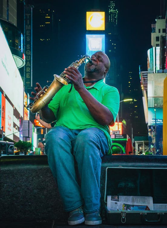 Saxophone Played By A Man