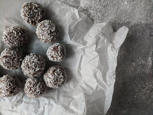 Chocolate balls on Paper