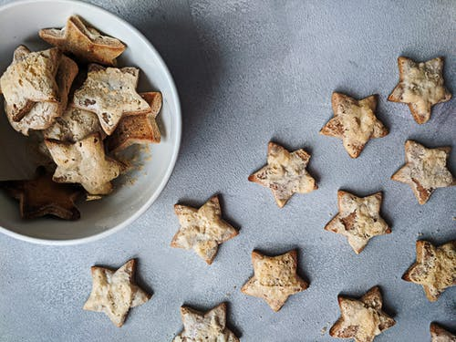 Star Cookies on Gray Surface and in Bowl
