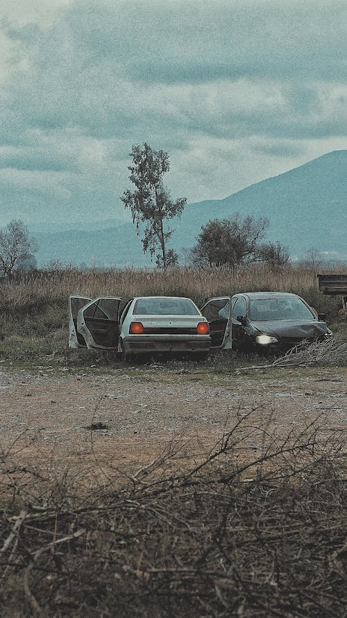 Free stock photo of abandoned, cars, clouds, cloudy