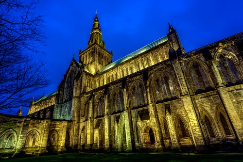 Free stock photo of Glasgow cathedral in blue hour