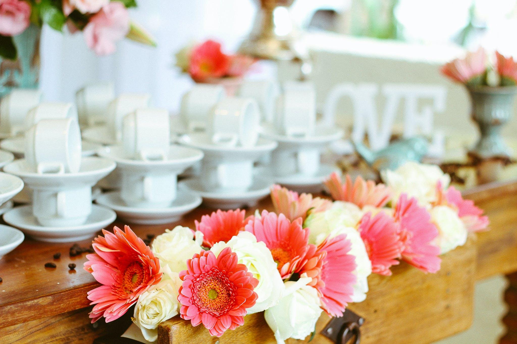 Pink Petaled Flower Arrangement on Desk