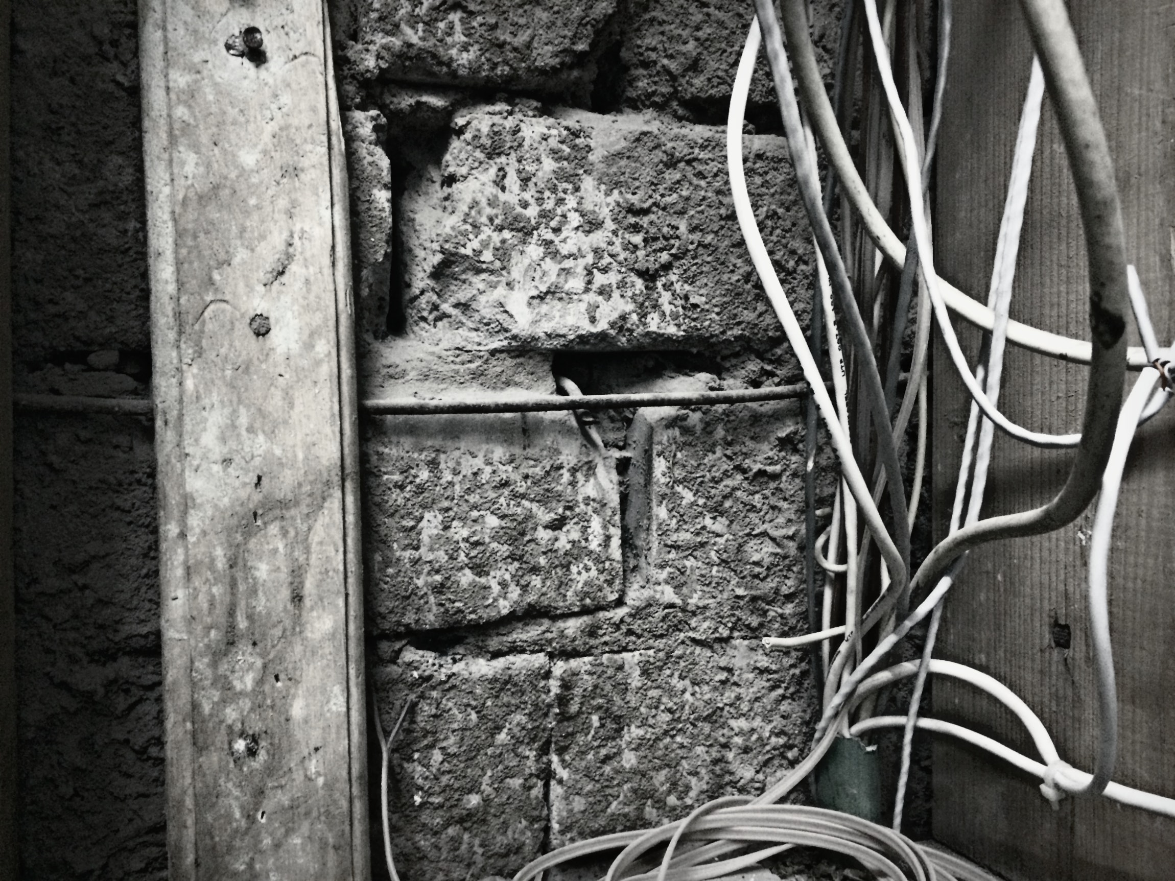 Free stock photo of black and white, brick wall, electrical wires