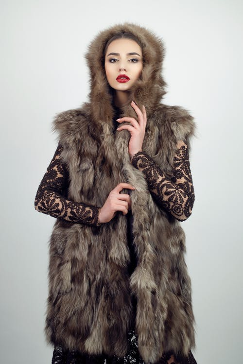 Woman Wearing Brown Fur Coat