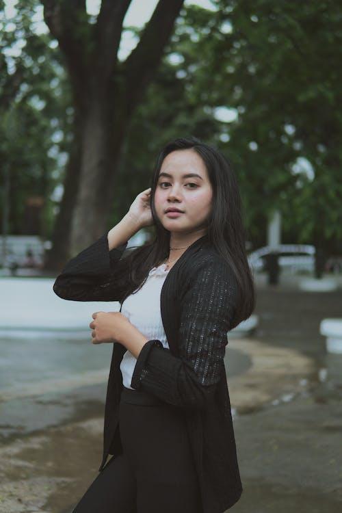 Woman Wearing Black Cardigan