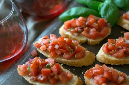 Slices Of Bread With Chopped Tomatoes