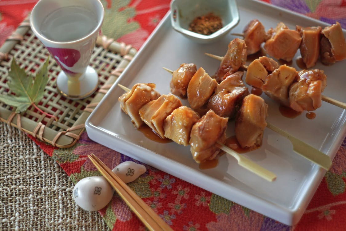 Free stock photo of chicken, chicken skewers, japanese food