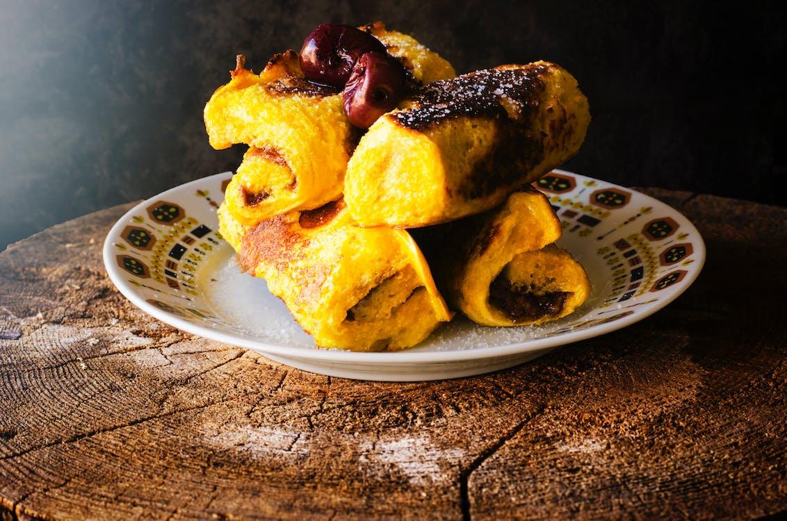 Free stock photo of bread rolls, cherry, chocolate cake