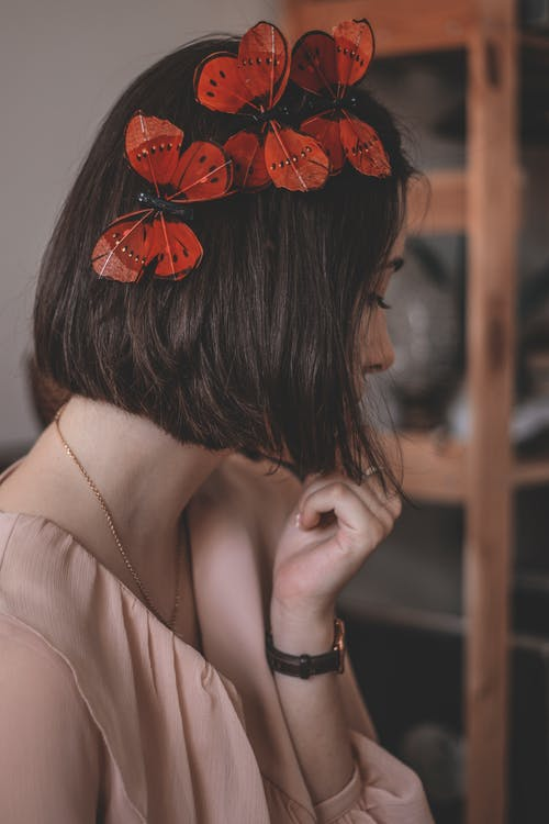 Woman with Butterfly Hair Clips