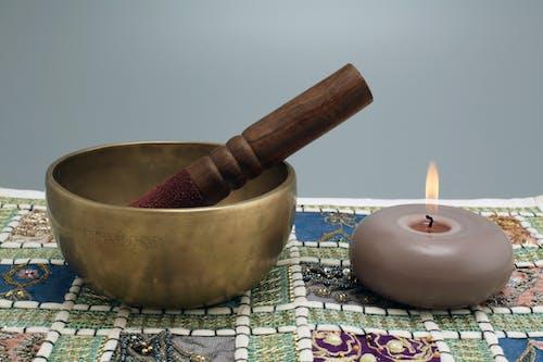 Free stock photo of candle, singing bowl