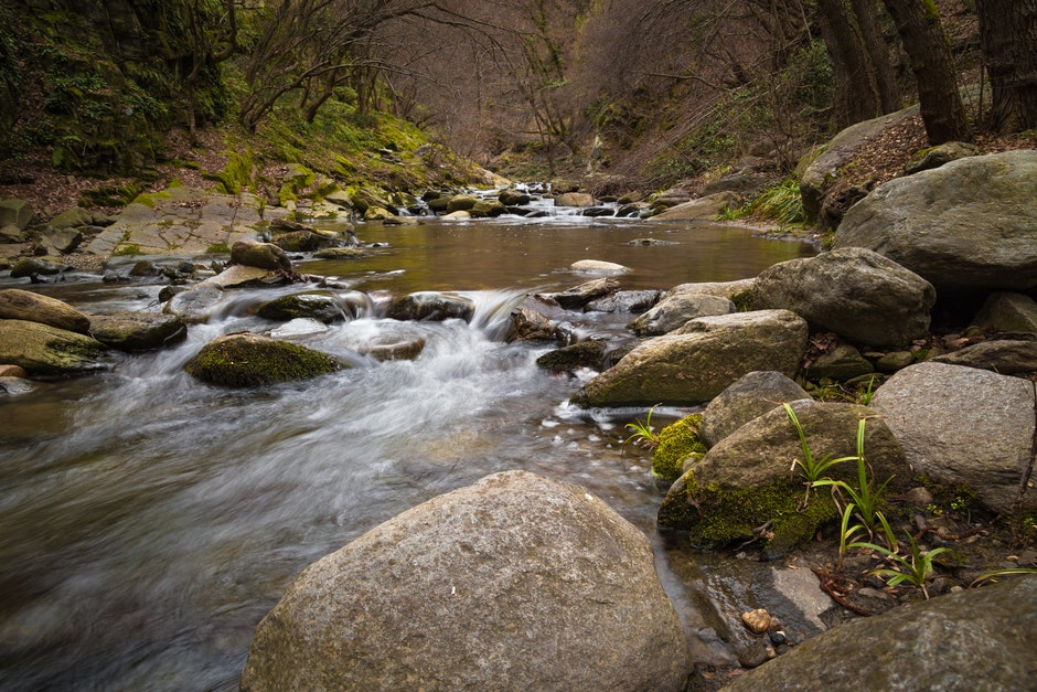boulder, cascade, creek