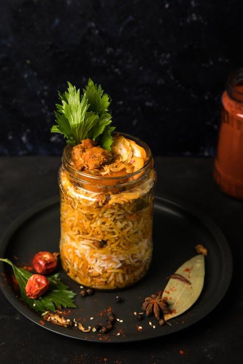 Free stock photo of biryani, chicken, foodphotography, glass jar