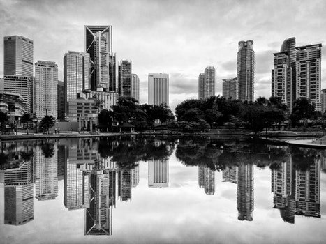 Free stock photo of black-and-white, city, sky, water