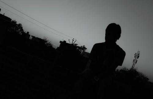 Free stock photo of black and-white, boy, dark, sad