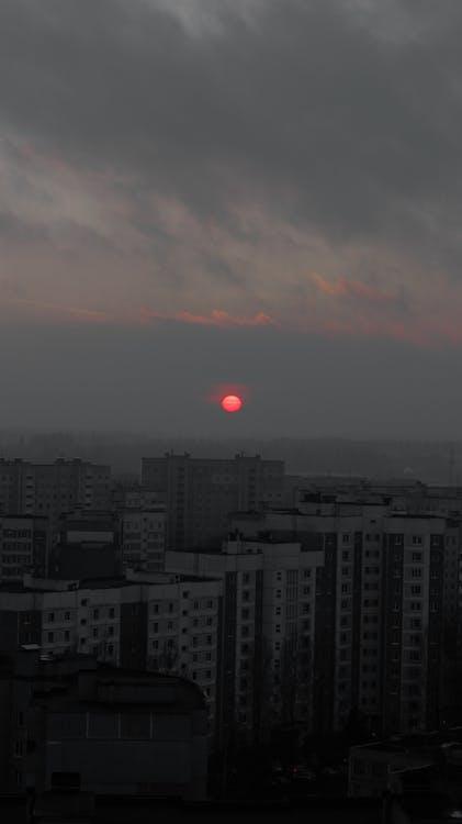 city, clouds, dawn