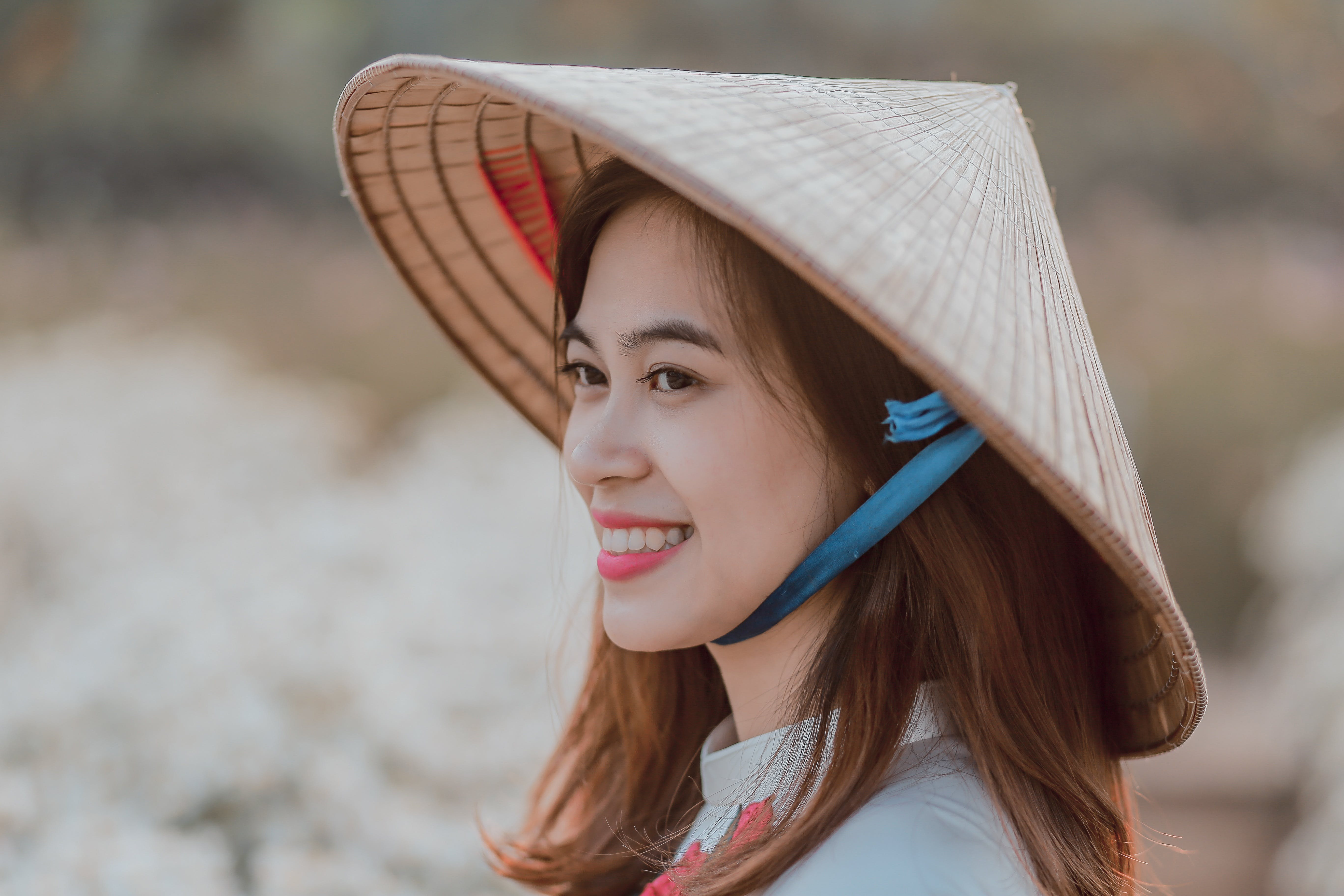 Smiling Woman Wearing Wicker Hat Selective Focus Photography