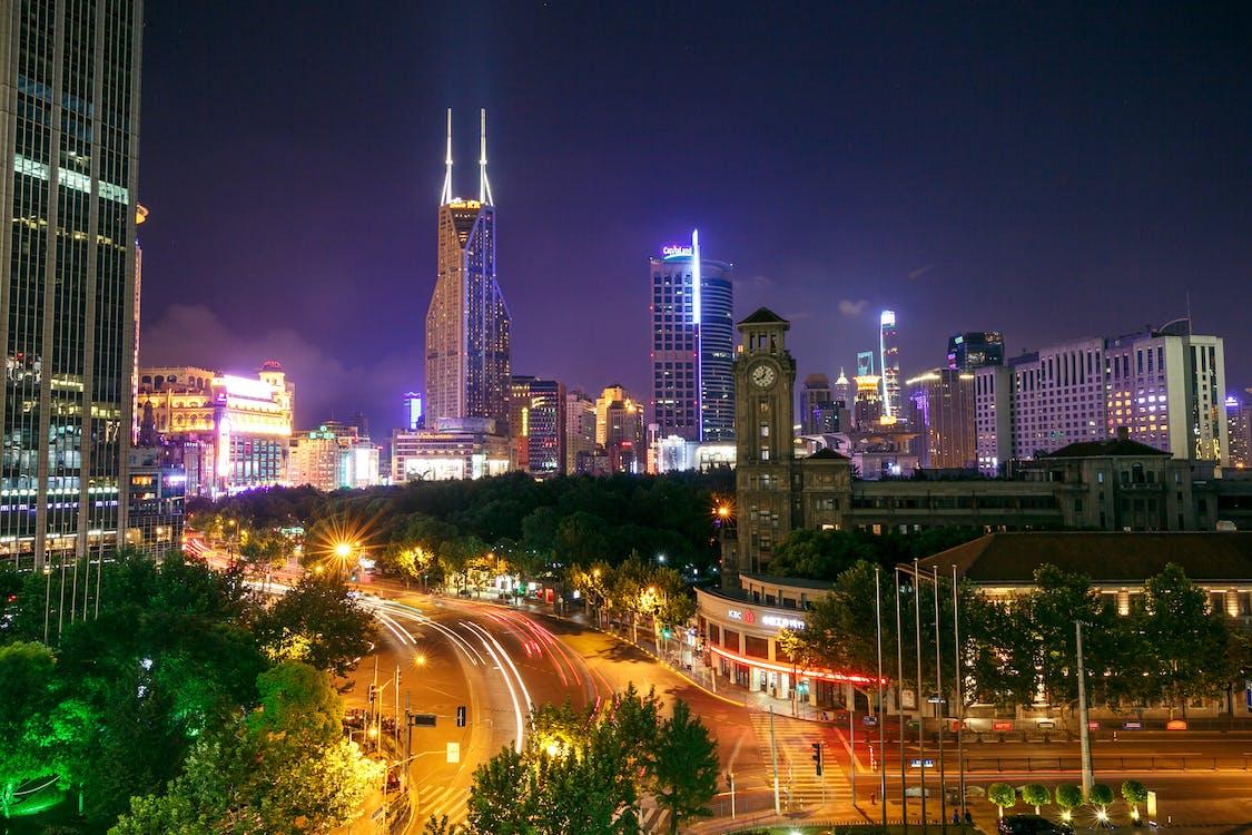 éjszaka, építészet, épületek