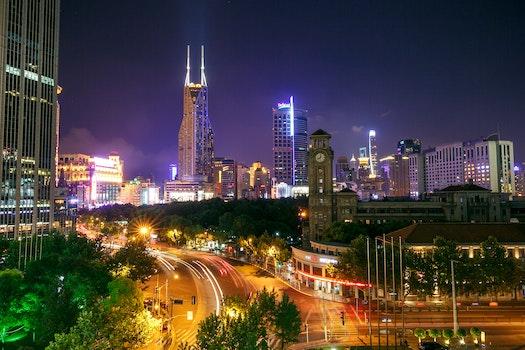 Free stock photo of city, road, night, street