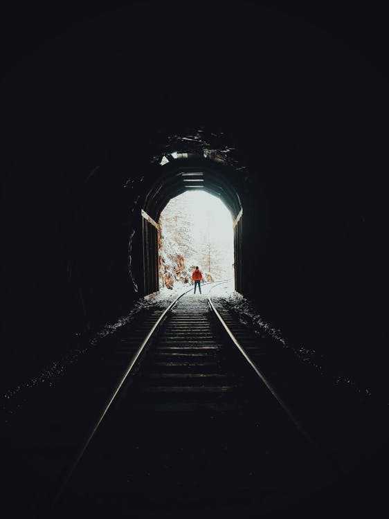 Person Standing on Train Track