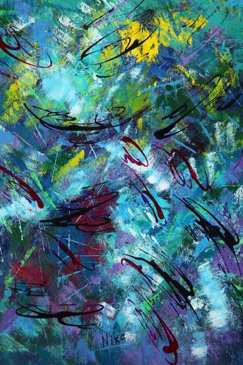 Foto stok gratis abstrak, biru, cat akrilik, karya seni