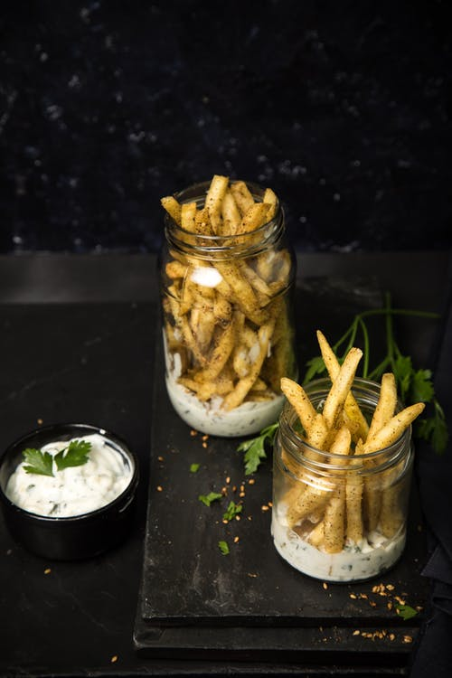 Free stock photo of dip, foodphotography, french fries, glass jar
