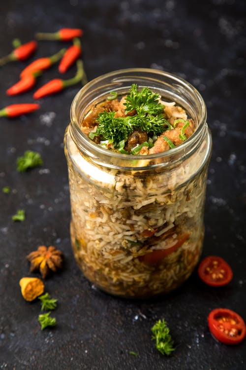 Free stock photo of chicken, foodphotography, Fried rice, glass jar