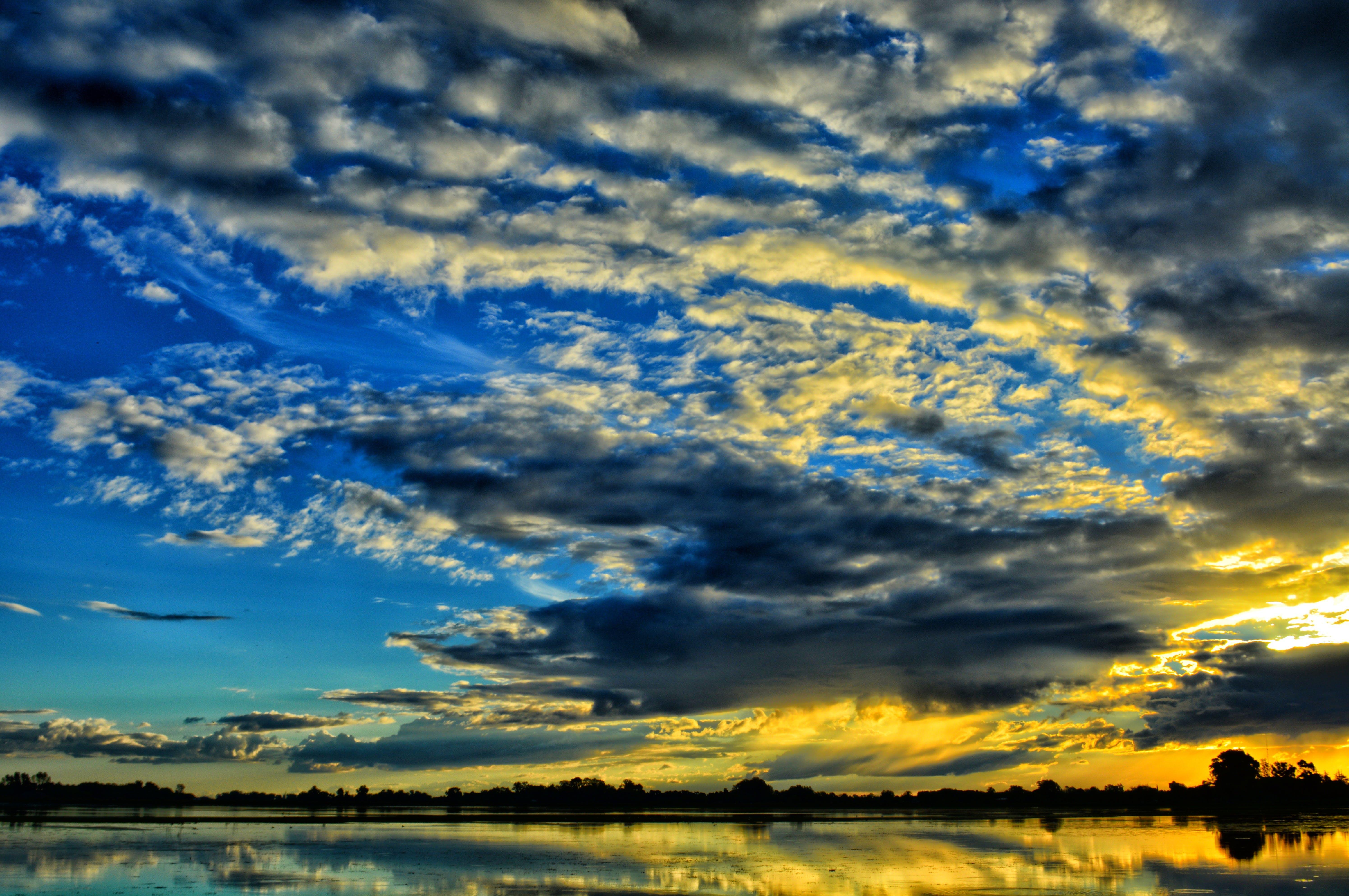 clouds, dramatic, dusk
